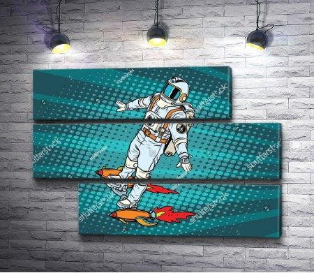 Астронавт летит на скейтборде с космическими ракетами