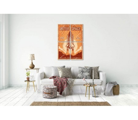 Постер с шаттлом и надписью Outer Space