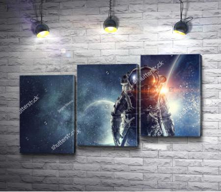 Астронавт на фоне звездного Космоса