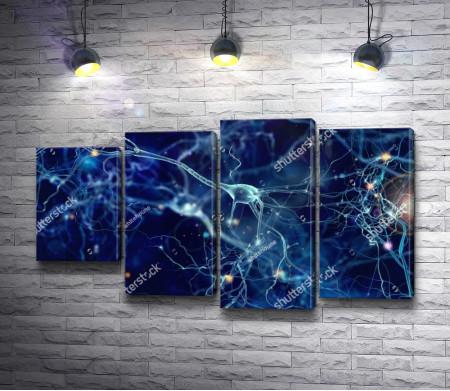 Иллюстрация из нейронных клеток со светящимися узлами в темном пространстве