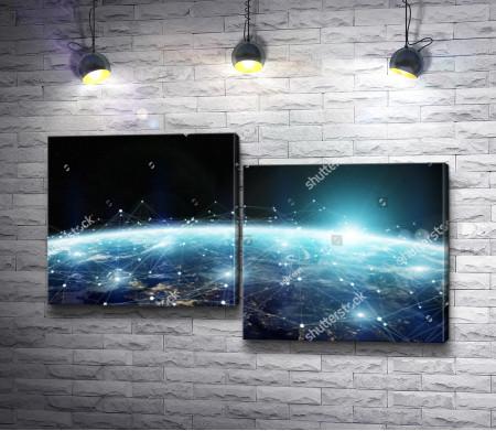 Глобальная интернет сеть, вид из Космоса