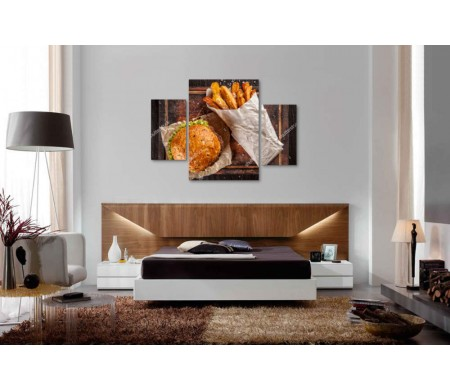 Гамбургер и картошка фри, фото flatlay
