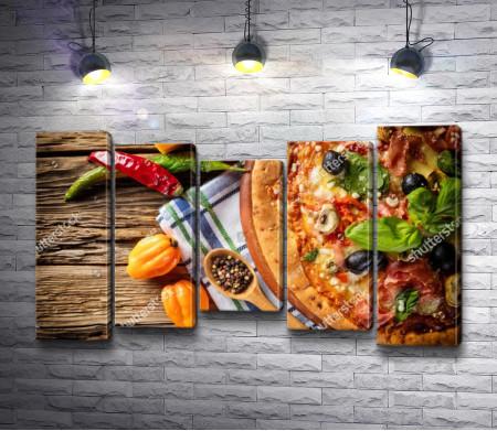 Пицца с овощами и специи