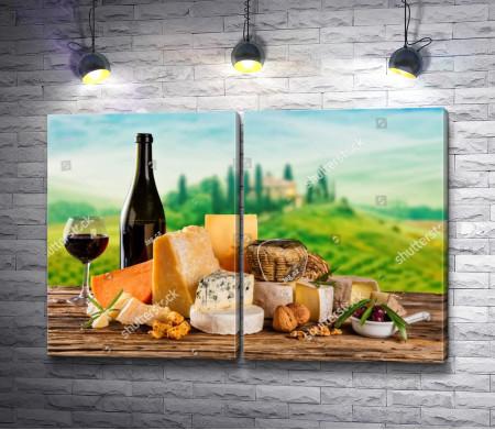 Итальянский натюрморт с сыром и вином