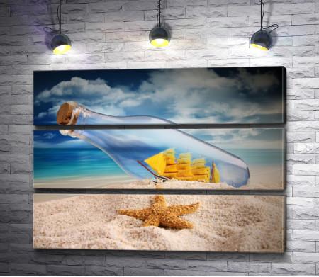 Бутылка с корабликом внутри и морская звезда