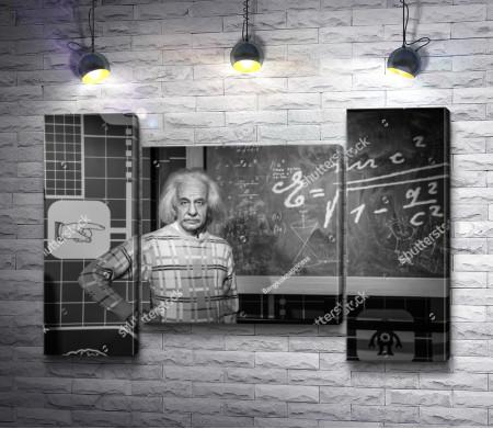 Восковая фигура Альберта Эйнштейна в музее Мадам Тюссо, Бангкок. Черно-белое фото