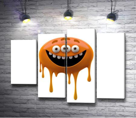 Оранжевый улыбающийся монстр с тремя глазами