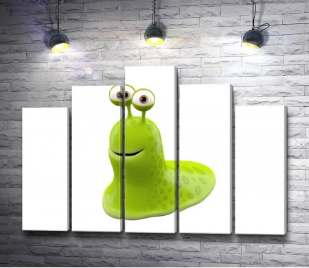 Зеленый улыбающийся монстр-улитка