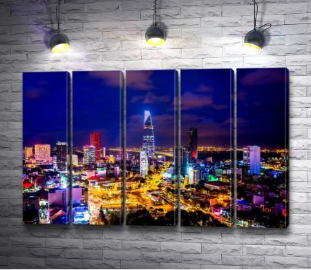 Вид на ночной город Хошимин, Вьетнам