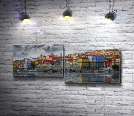 Красочный город Порту на берегу реки Дуэро, Португалия