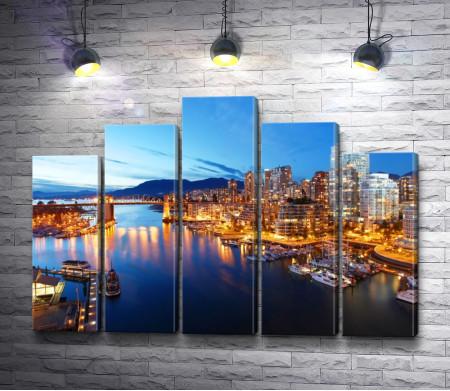 Вид на ночной Ванкувер, Канада