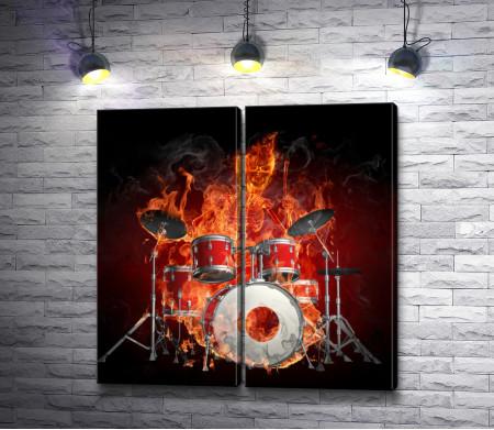 Скелет в огне играет на барабанной установке