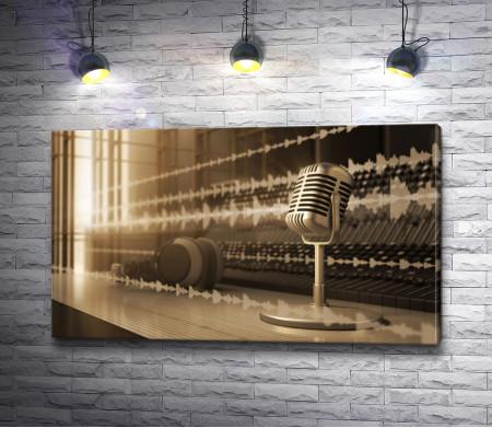 Микрофон и музыкальные волны