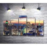 Панорамный вид на вечерний Нью-Йорк