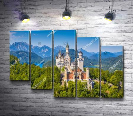 Фантастический вид на замок Нойшванштайн, Швангау