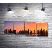 Панорамный вид на Бизнес-Бэй во время заката, Дубаи