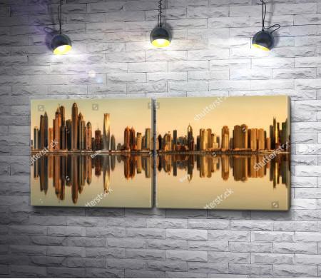 Обзорный вид на вечерний Дубай