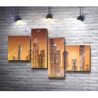 Небоскребы города Дубай во время заката