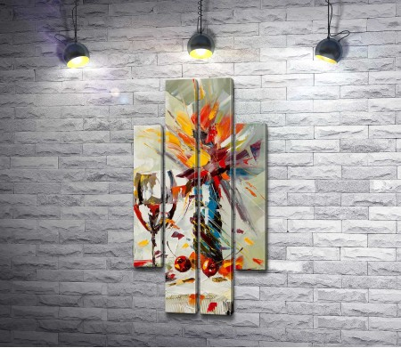 Стеклянная ваза с цветами