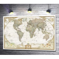 Винтажная карта мира  National Geographic