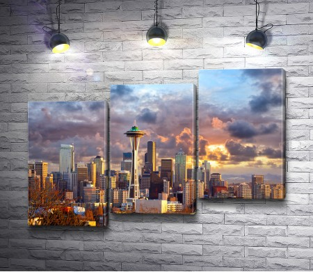 Вечерний Сиэтл в облаках