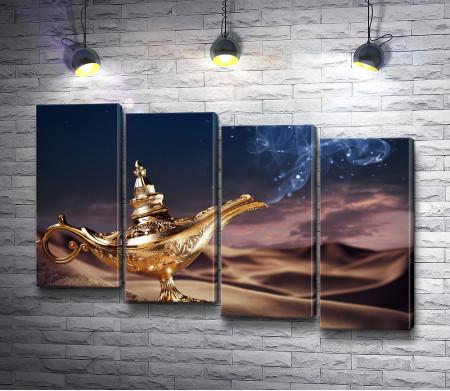 Золотая лампа Аладдина в пустыне