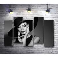 Элегантная девушка, черно-белое фото