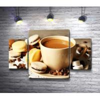 Кофе с молоком и макаронсы