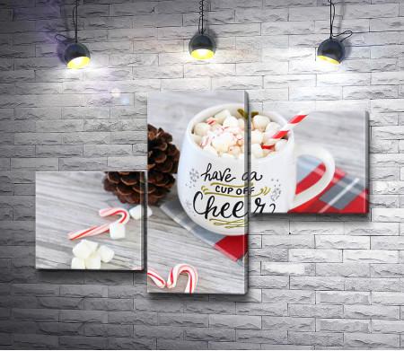 Какао с маршмеллоу и рождественский декор