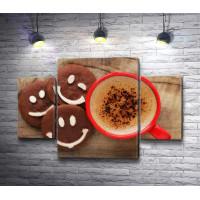 Кофе в чашке и печенье смайл