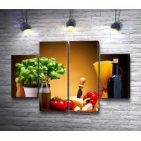 Итальянский натюрморт с овощами, сыром и пастой