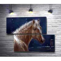 Лошадь зимней ночью