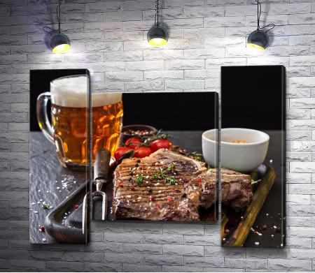Мясо на гриле и пиво