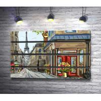 Парижская улица с видом на Эйфелеву башню