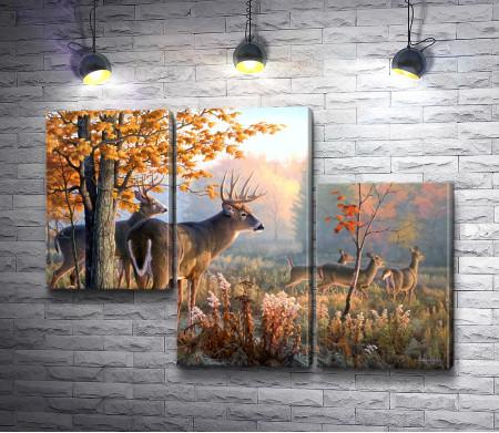 Животные в осеннем лесу