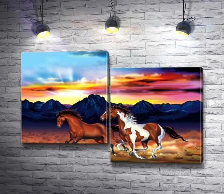 Пара лошадей в горах