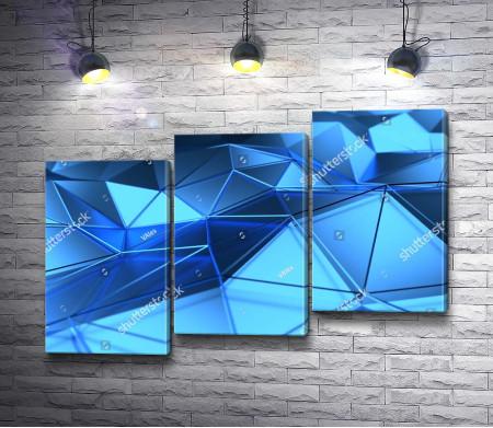 Объемная голубая геометрическая поверхность