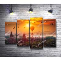 Воздушные шары над городом Мандалай в закате
