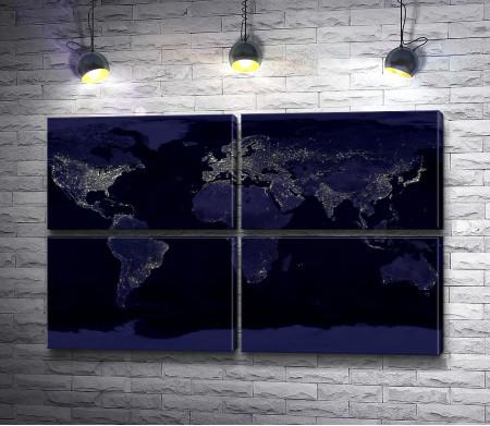 Карта Земли с ночным освещением