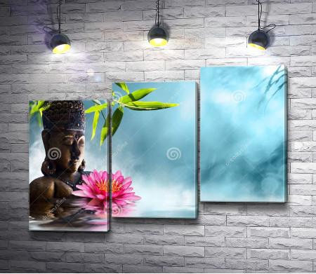Статуэтка Будды и лотос