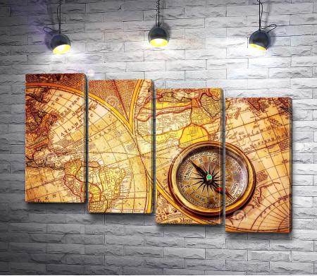Карта античного мира и компас
