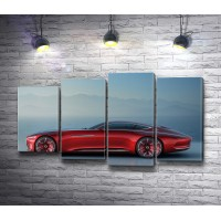 Красный Mercedes-Maybach Vision 6 в тумане