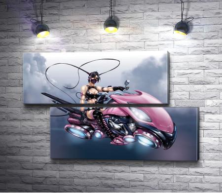 Девушка-воин на мотоцикле