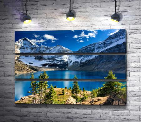 Озеро среди заснеженных гор