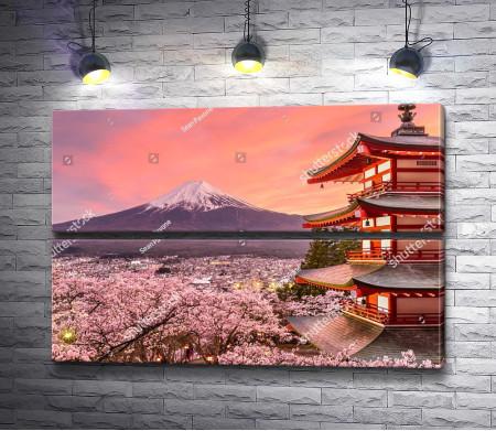 Вид на вулкан Фудзияма, Япония