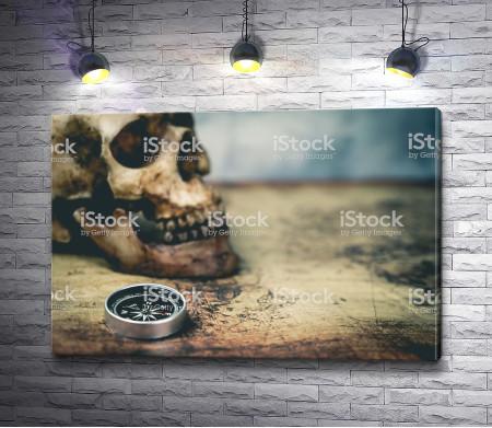 Компас, череп и винтажная карта