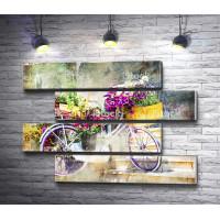 Велосипед в цветах, винтажное фото