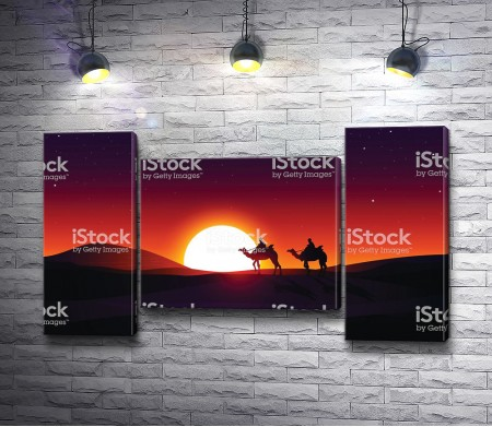 Верблюды на фоне огненного заката