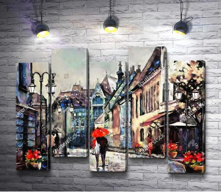 Пара прогуливается по Парижу