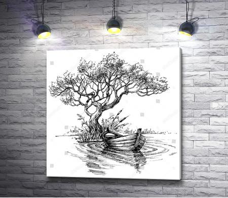 Лодка у дерева